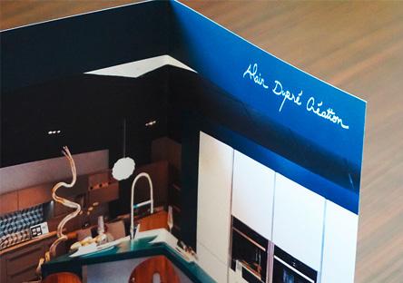Alain Dupré Création, cuisiniste, prise de vue panoramique du showroom du magasin, Bourgoin-Jallieu