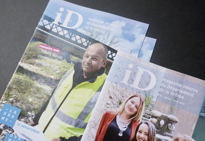 ID magazine, magazine interne du département de la Drôme, création graphique et mise en page