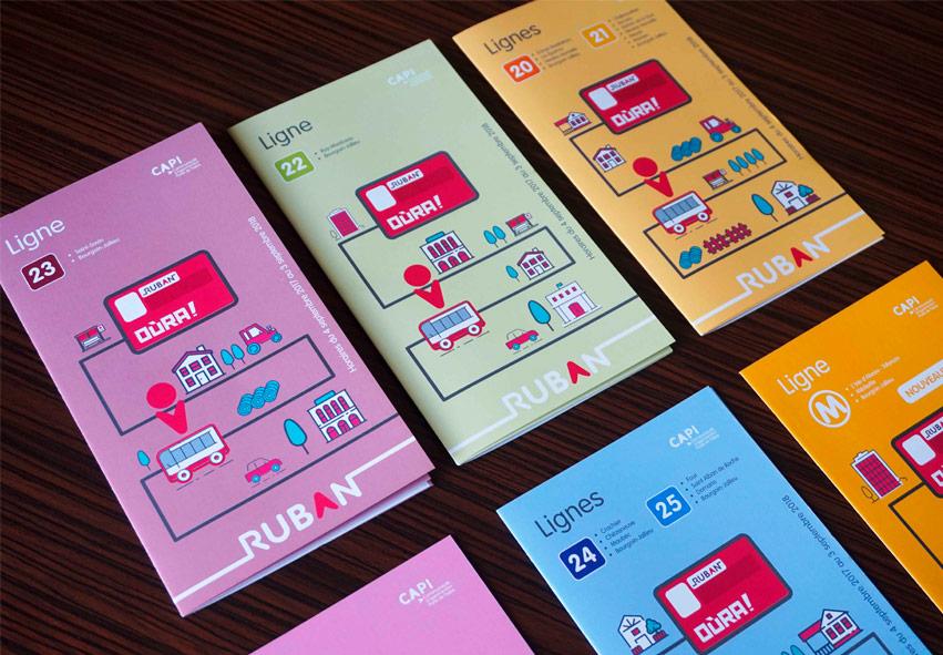 Dépliant horaires, guide bus, Ruban, illustration vectoriel,