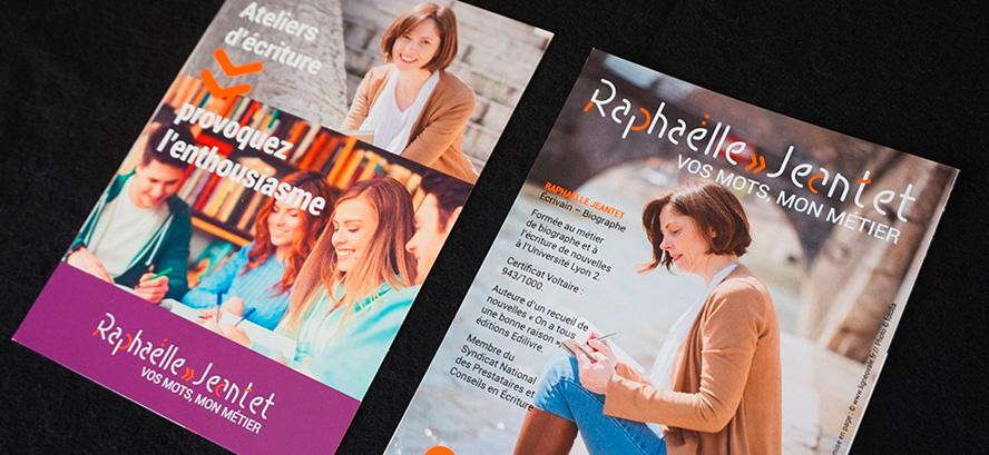 Raphaëlle Jeantet, biographe, correction & rédaction, ateliers d'écriture, création logo, charte graphique, carte de visite, carte de correspondance, pochette.